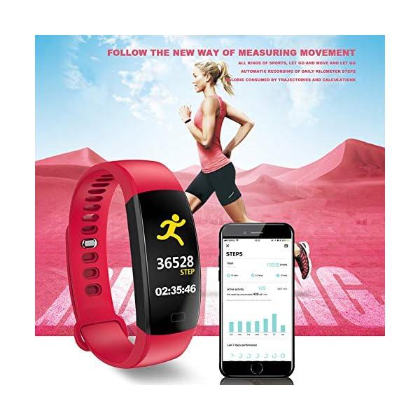 Pulsera impermeable Bluetooth 4.0fitness Tracker podómetro Monitor de ritmo cardiaco del sueño mallalah deporte reloj Smart Watch, color Negro 8