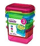 Sistema–Contenitore per il pranzo, con clip a contrasto, verde/rosa/blu, 400ml, confezione da 3