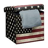 Relaxdays Faltbarer Sitzhocker 38 cm stabiler Sitzwürfel mit trendigen Motiven als praktische Fußablage als Sitzwürfel mit bedrucktem Kunstleder als Aufbewahrungsbox mit Stauraum und Deckel, USA