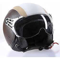 Citomerx CMX Chap - Casco para moto (piel, tamaño XL), color blanco y beige