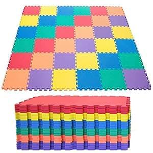 TrendMakers ****SALE***** Outdoor/ Indoor Protective Kids Soft Floor Mats Interlocking - Reversible Floor Matting suitable for Gym, Baby Play Area, Exercise, Yoga, Pilates Matz Set (10PC Eva Mat)