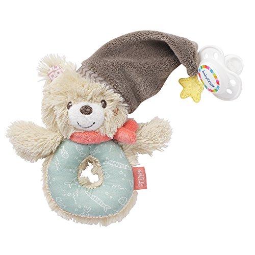 Fehn 060164 Ring-Greifling Bär - Greifling mit Rassel und Schnullerbefestigung für Babys und Kleinkinder ab 0+ Monaten - Maße: 13 cm