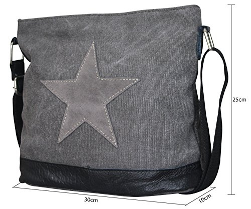 Damen Stern Handtasche Schultasche Clutch TOP TREND Tragetasche Schwarz/Grau Modell 3