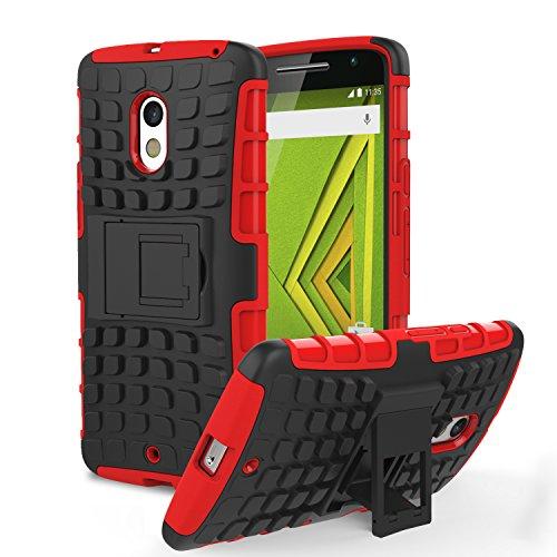 Motorola Moto X Play Phone Funda - MoKo Heavy Duty Rugged Dual Layer Armor con Kickstand Protective Funda para Moto X Play Smartphone 2015 Edition, Rojo (Not for Moto X Previous