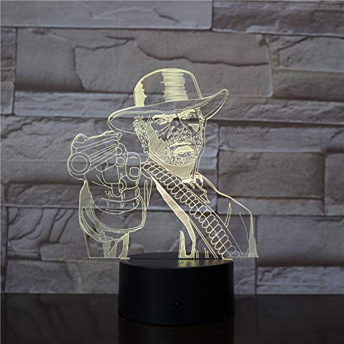 KangYD® Red Redemption Game 3D Nachtlicht, LED Mood Lampe, Home Decor, Touch 7 Farbe (Crack White), Buntes Licht, Kinderlampe