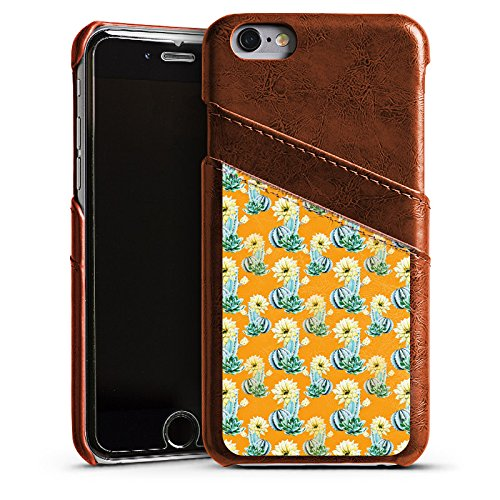 Apple iPhone SE Housse Outdoor Étui militaire Coque Cactus Motif Motif Étui en cuir marron