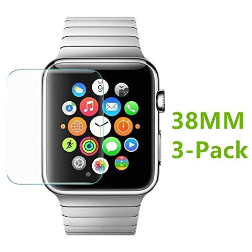 MOUKOU Apple reloj iWatch 38mm protectores de pantalla Paquete de 3protector de pantalla de cristal templado para Iwatch 38mm sólo