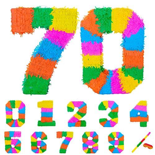Fax Potato Pinata Set mit Stick & Blindfold - 70. Geburtstag/Jahrestag - Rainbow