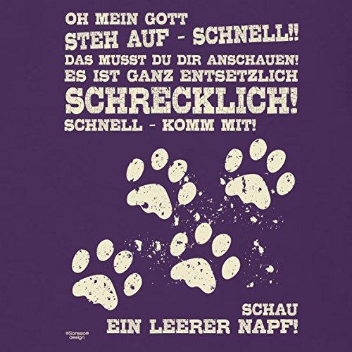 Lustiges Sprüche Fun T-Shirt für Herren :: Tolle Geschenkidee zum Geburtstag Ostern Weihnachten für Katzenliebhaber Hundeliebhaber Leerer Napf Farbe: lila Lila