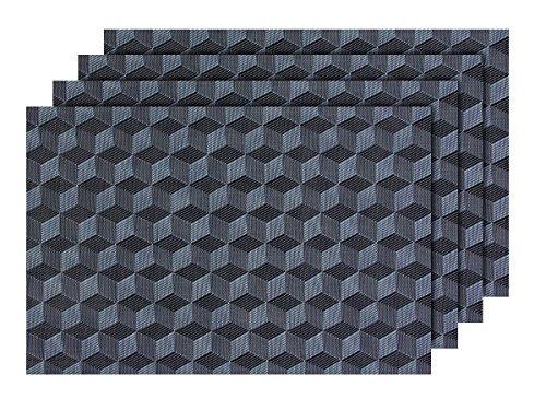 4 PZ di tovagliette americane decorative nero grigio (TS-80), set da tavola in PVC di alta qualità, Misure 45 x 30 cm, per decorazione molto elegante e durevole tavolo cucina