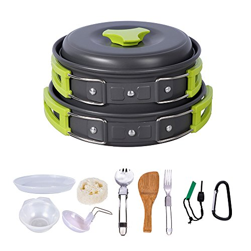 HUKOER Camping Cookware Kit Backpacking Gear & Hiking Outdoors Cooking Equipment Ultralight 14 Pieces Cooking Set with Compact & Durable Pot Pan Bowls Folding Spork Nylon Bag