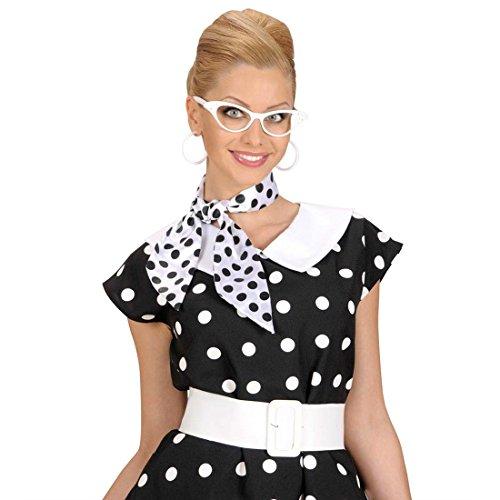 50er Jahre Halstuch Pünktchen Haar Tuch schwarz-weiß gepunktet Retro Satintuch Polka Dots Satin Schal Rockabilly Punkte Haartuch Mottoparty Accessoire