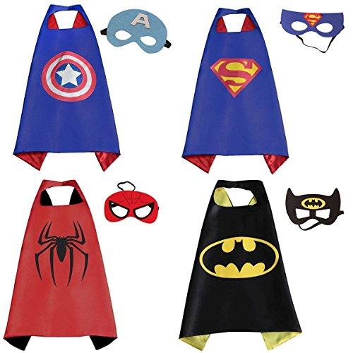 Superhelden Kostüme für Kinder,4 Cape und Maske Halloween Kostüm, Party Kostüme,Spielzeug für Jungen-Karneval Fasching (Kostüm Halloween Ares)