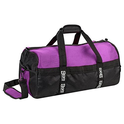 Sporttasche Mesh 25L mit Schuhfach und Mesh-Oberseite für beste Belüftung - klein mit abgetrenntem Nassfach, Wertfach und Schultergurt - in Rosa, Pink und Lila für Damen & Mädchen (Lila) Frauen Training Bag