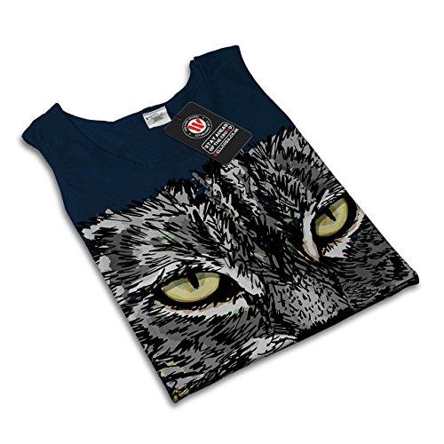 gemalt Kätzchen Wütend Katze Kätzchen Skizzieren Damen Schwarz S-2XL Muskelshirt | Wellcoda Marine