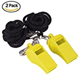 Gostscp Referee, Coach Whistle - High-Quality Plastic - Extra Loud Whistle with Lanyard or Spiral wristband for School Sports, Soccer, Football, Basketball and Lifeguard Protection,2 of Pack - Yellow