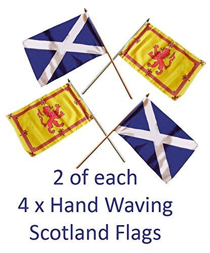 BZB Schottland Hand-Flaggen, mit 2 unterschiedlichen Designs, Motiv: St. Andrews Andreaskreuz und der schottische Löwe / schottische Königsflagge, gute Qualität, je ca.: 23x 15cm,an einem 30,5cm langen Stab