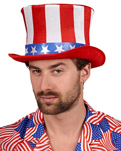 Horror-Shop USA Zylinder mit Stars & Stripes für Motto Partys zum Independence Day