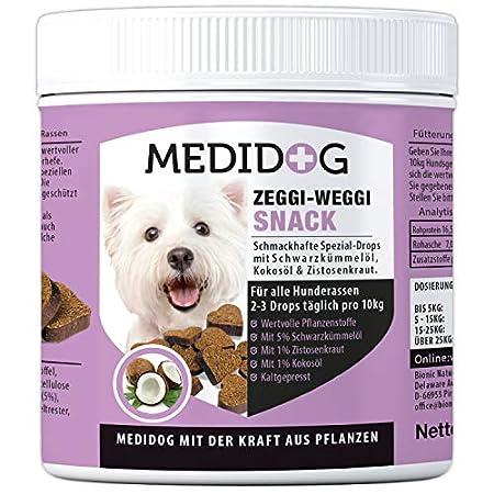 Medidog Zeggi Weggi 400g Premium Schutz Drops für Hunde, Kaltgepresst und Getreidefrei, mit Schwarzkümmelöl, Kokosöl und Zistrose, Hypoallergen, kein Zeckenhalsband, Zeckenschlinge, Zeckenpinzette