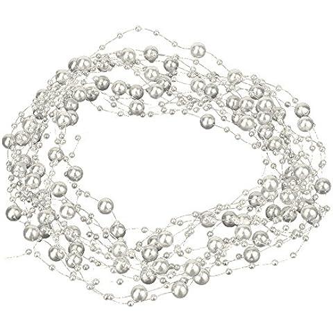 eBoot Perline Ghirlanda di Plastica Pressato Perla ImitazionePerla,10 Metri, Avorio - Vetro Abbellimenti