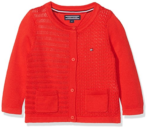 Tommy Hilfiger Baby-Unisex Strickjacke Sweet Texture Girl Cardigan, Rot (Flame Scarlet 610), 74