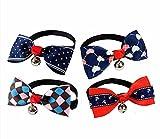 Fully 4 Stil Verstellbar Hunde Halsband Schleife Fliege Hundeschleife Krawatte mit Glocken (4 Stil)
