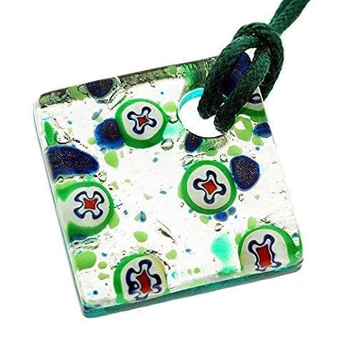 Venezianischen Murano Glas Silber und Grüne Kreise Anhänger Halskette. Echtes handgemachtes in Italien, schön präsentiert in einer Geschenkbox mit Echtheitszertifikat.