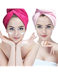 Hairizone 2x ultra saugstarke Mikrofaser-Handtücher für die Haare, schnell trocknender Handtuch-Turban mit elastischer Schlaufe für alle Haartypen (Rosa/Roseo)