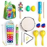 Instrumentos musicales juguetes Set para niños, bebés, preescolar, incluye xilófono, Maraca, huevo shaker, Flauta, pandereta, Bell Stick, dedo Clapper, triángulo, tono bloques con llevar mochila