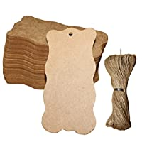 ACMEDE 100pcs 5x10cm Blank Wave Brown Kraft Paper Gift Tags With 20M DIY Twine String for Wedding Luggage Scallop Label