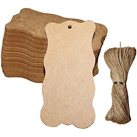 acmede 100piezas 5x 10cm en blanco Wave Marrón papel Kraft etiquetas de regalo con cuerda de 20m DIY para Boda etiqueta de equipaje de concha