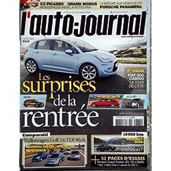 AUTO JOURNAL (L') [No 781] du 16/07/2009 - les surprises de la rentree - citroen c3 ii - bmw x1 - audi a5 sportback - jaguar xj - fiat 500 cabrio - volkswagen golf 1,6 tdi 90 ch - peugeot 3008 - pages essais - la berline aux genes de 911 - porsche panamera c3 picasso - grand modus -
