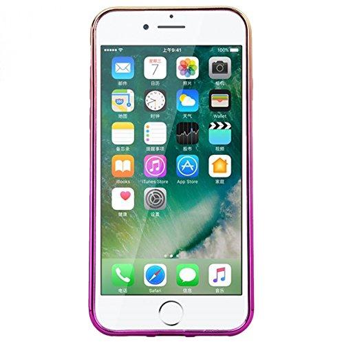 """GrandEver Coque iPhone 7 4.7"""" 3D Liquide Silicone Transparente { Or } Paillettes Souple Flexible Etui Glitter Sable Étoiles Rigide Back Cover Case Anti-Choc Anti Rayures Housse pour iPhone 7 --- Tour Tour"""