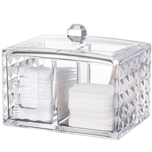 YunNasi Acryl transparent Make-up-Organizer für Wattestäbchen mit Deckel Cube (Baumwolle-wolle-halter)