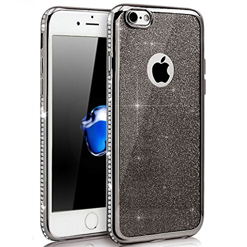 Custodia iPhone 7, Cover iPhone 7, Yoowei® diamante di Bling Custodia Chiaro Cristallo Ultra Sottile Morbido Placcatura TPU Gel Case Cover per iPhone 7 4.7, Nero Black