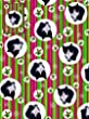 'Happy Christmas' Cute Black and White Kitten Cat Pink Green Stripe gift wrap pack - 6 sheets and 6 tags