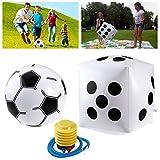 NUOLUX Aufblasbare Würfel Jumbo + Aufblasbare Fußball Ball + Inflator Pumpe für Kinder spielen
