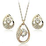 Brilliance Ohrringe und Anhänger Set mit Swarovski-Kristallen in 18 Karat vergoldete