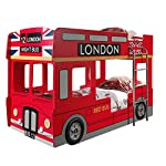 "Bunk Bed""London bus"" with 2 Chairs, 2 LED Lights and 2 Slatted Bed Frames"
