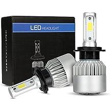 Kit de conversión de bombillas LED para faros de coche, Bombillo de LED COB H7 de alta potencia 6500K 8000lm 72W H/L Faro de LED doble bajo y alto haz Reemplazar bombillas halógenas Bombillas HID