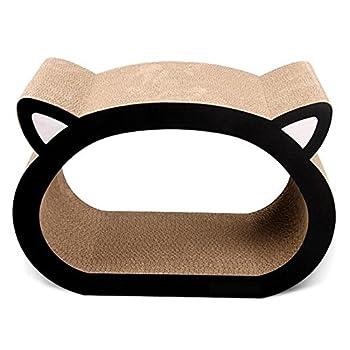 Myyxt Planche à gratter Chat Forme de tête de chat Griffe de meulage Grand ondulé Jouets