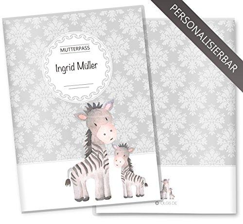 personalisierte mutterpasshülle mit zebra