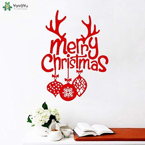 Wandtattoo Moderne Dekoration Vinyl Frohe Weihnachten Wandaufkleber Frohes Neues Jahr Santa Wandbild Poster Tür Dekor 57x77 cm -