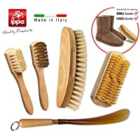 Set for cleaning and care of the shoes. Polishing bristle brush + Brass brush+ suede brush with thermoplastic rubber for nabuk + large brush blond hair + shoehorn. 100% made in Italy. Set particularly suitable for cleaning emu & Ugg boots.