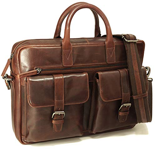 Fa.Volmer® Herren Echt-Leder Business-Tasche für Notebook etc. in braun #Bag16233