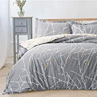 Bedsure Printed Duvet Cover Set Double Size Grey & Ivory Branch Pattern 3 pcs with Zipper Closure + 2 Pillowcases - Ultra Soft Hypoallergenic Microfiber Quilt Cover Sets 200x200cm