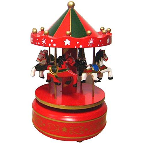 Vococal -Classico Carillon Giostra Cavalli Rotante Music Box Scatola Musicale Musical Box con Castelli in (Go Round Box Musica)