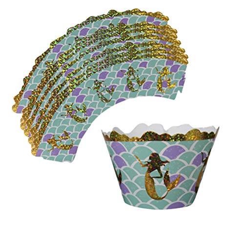 Amosfun 12 stücke Kuchenverpackungen Meerjungfrau Thema Backen Kuchen Pappbecher Wraps für Hochzeit Geburtstag Party Dekoration - Wrap-halter Papier