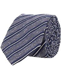 OTTO KERN Schmale Krawatte Seide Seidenkrawatte Clubkrawatte Navy Blau Weiss Gestreift 6,5 cm