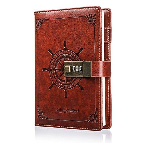 Notizbuch MOHOO Tagebuch Password Notebook Vintage-PU-Leder-Tagebuch Password Diary Book Notizblock mit Zahlenschloss 112 seiten Vintage Notebook(Weihnachtsgeschenk)